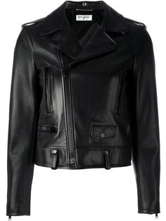 ¡Cómpralo ya!. Saint Laurent - Classic Biker Jacket - Women - Cotton/Lamb Skin/Cupro - 38. A classic black leather biker jacket is a wardrobe essential and timeless styling option. This Saint Laurent version is fashioned with shoulder epaulettes, a classic collar, an off-centre front zip fastening, three front zipped pockets, a single front flap pocket and long sleeves with zipped cuffs. An example of Saint Laurent's made in Italy craftsmanship, this classic biker jacket is cut for a…