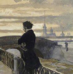 """Alexandre+Benois   Alexandre Benois, """"Pouchkine à Saint-Petersbourg"""" (détail). Source ..."""