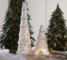 Lighted Mercury Glass Trees from Pottery Barn