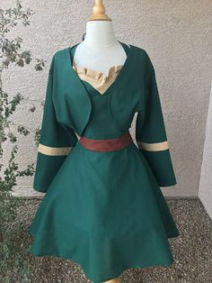 Merida (Apron by AJsCafe @Etsy) #Brave Brave Pixar, Disney Pictures, Merida, Apron, Dresses With Sleeves, Sewing, Long Sleeve, Clothes, Outfits