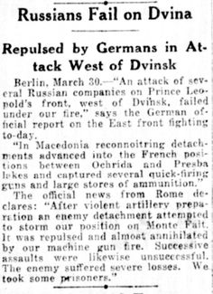 """WWI, 31 March 1917; """"German official report on the East Front"""" - New York Tribune"""