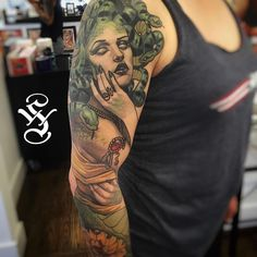 In the works, Medusa sleeve I've been chipping away at...#medusa