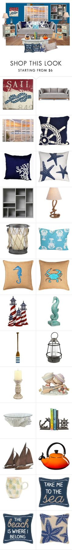 """""""Nautical Throw"""" by jayme-becker ❤ liked on Polyvore featuring interior, interiors, interior design, home, home decor, interior decorating, Trademark Fine Art, Liora Manné, Thumbprintz and Casa Cortes"""