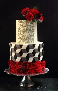 """TRULY MADLY DEEPLY"" ~  		The cake tells the story of the desired love, something burning, something like illusion, and romantic, of course. ~ all edible"