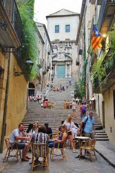 Escalinata de San Martín en Girona medieval