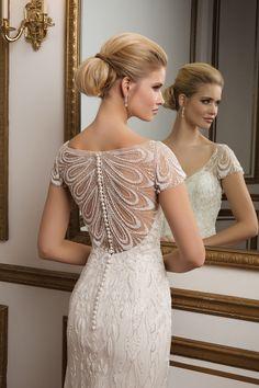 Justin Alexander  Intricate Beaded Back and Cap Sleeve Wedding Dress