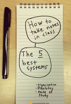 The best systems for taking notes in #college! Use these tips to study better in less time.