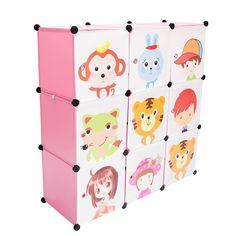 Modulares Kinderzimmerregal mit süßen Tiermotiven. Kann durch das Steckstystem beliebig erweitert werden. Lieferbar in grün oder rosa, mit 2-, 6- oder 9-Modulfächern