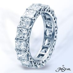 Style 2606 Diamond eternity band handcrafted in pure platinum with 17 perfectly matched radiant diamonds in shared-prong setting. Radiant Cut Diamond, Pure Platinum, Anniversary Bands, Eternity Bands, Idaho, Diamond Engagement Rings, Fine Jewelry, Diamonds, Wedding Rings