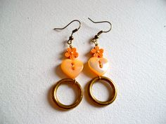 Peach heart earrings. €16.00, via Etsy.