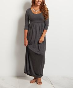 This Charcoal Gray Three-Quarter Sleeve Maxi Dress is perfect!   Love the princess breast cut.