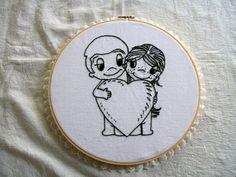 Hoop Art, Embroidery,  Mounted in Hoop, Love Couple. $15.00, via Etsy.