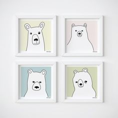4 Bears in Squares posters -get 20% discount
