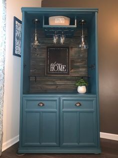 Sold Armoire Bar Cabinet Liquor Cabinet Buffet Teal with image 1 Refurbished Cabinets, Refurbished Furniture, Repurposed Furniture, Bar Furniture, Furniture Projects, Furniture Makeover, Furniture Design, Bar Armoire, Kitchen Organization