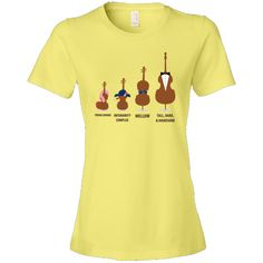 Orchestra String Instruments Women's T-Shirt has funny violin, viola, cello and string bass with each instrument described. Quotes say Prima Donna (violin), Inferiority Complex (viola), Mellow (cello), Tall Dark and Handsome (string bass). $24.99 www.schoolmusictshirts.com #orchestra #cello #violin