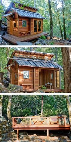 Tiny house with wooden deck in Sonoma, CA. Photo: Benjamin Chun | Tiny Homes