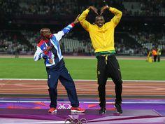 Living legend #UsainBolt and #MoFarah swap their trademark celebrations after last night's superb #success