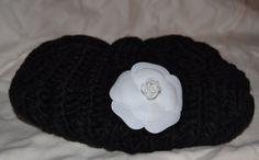 e46b3d07749fe Black Beret Hat Cap w  Authentic Chanel Camellia by VogueTrend
