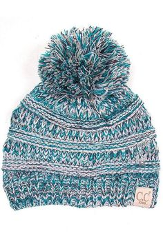 61acfe94eb4   Sale   CC Kids 4 Tone Turquoise Matching Pom Beanie Fits 2T-7 8
