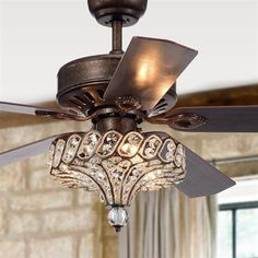 Shop for Gliska Rustic Bronze Lighted Ceiling Fans w Crystal Shade Optional Remote Control (incl 2 Color Option Blades). Get free delivery On EVERYTHING* Overstock - Your Online Ceiling Fans & Accessories Store! Get in rewards with Club O! Ceiling Fan Chandelier, Crystal Chandelier Lighting, Bronze Chandelier, Ceiling Lights, Dining Lighting, House Lighting, Ceiling Ideas, 52 Inch Ceiling Fan, Ceiling Fan With Remote