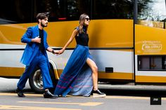 Patricia Manfield. Blue maxi dress. Flatform brogues. Royal blue suit. Street style