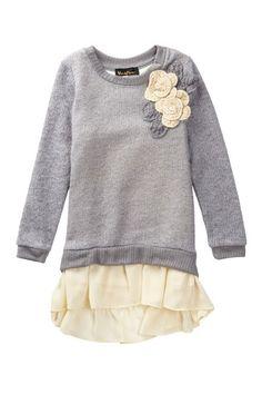 Chiffon Trimmed Sweater Dress (Toddler, Little Girls, & Big Girls) by Hanna Banana on @HauteLook