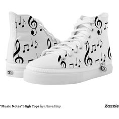 """""""Music Notes"""" High Tops Printed Shoes ($84) ❤ liked on Polyvore featuring shoes, sneakers, high top sneakers, hi tops, music note shoes, high top shoes and music notes"""