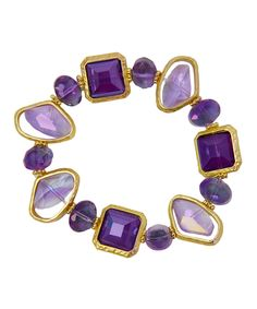 Purple & Gold Stone Stretch Bracelet