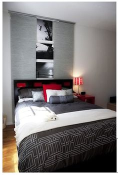 Amazing Amazing Red Accents In Bedrooms U2013 34 Stylish Ideas : Red Accents In Bedrooms  34 Stylish Ideas With White Gray Wall And Bed Pillow Blanket With Red ...