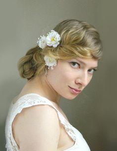 White Wild Rose Bobby Pin Trio   Snow White by VioletteandIris, $24.00
