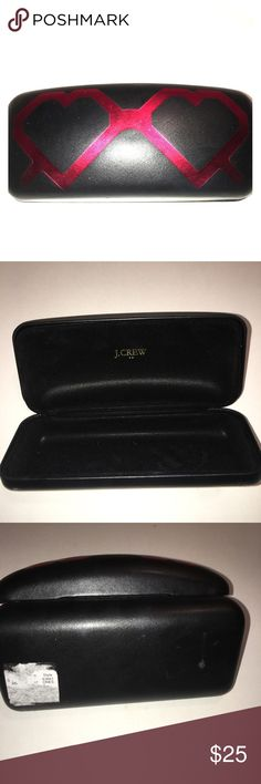 J.crew sunglasses case J.crew sunglasses case black with red hearts small nick in back J. Crew Accessories Sunglasses