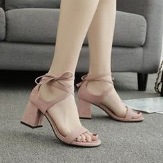 31cfc9ae80474 Summer Chunky Heel High Heels Suede Round Tip Hollow Open Toe Female Sandal  Female Shoes 50239