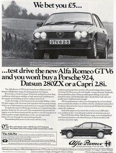 Wonder how much this cost them. Alfa Gtv, Alfa Alfa, Alfa Romeo Gtv6, Alfa Romeo Cars, Porsche 924, Car Advertising, Bugatti, Lamborghini, Driving Test