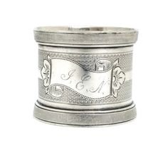 Antique Engine-Turned Coin Silver Napkin Ring by MadameDarling on Etsy