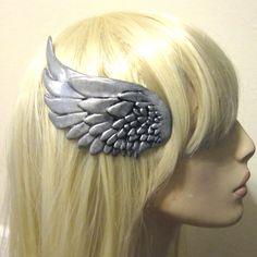 Silver wing hair clip RIGHT SIDE - valkyrie, mercury, steampunk, cosplay. $26.00, via Etsy.