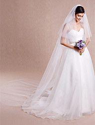Hochzeitsschleier Zweischichtig Kathedralen Schleier Schnittkante Tüll Weiß Eifenbein