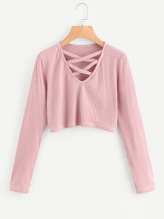 Shop Criss Cross Ribbed Crop Tee at ROMWE, discover more fashion styles online. Teenage Girl Outfits, Girls Fashion Clothes, Teen Fashion Outfits, Mode Outfits, Tween Fashion, Cute Fashion, Girl Fashion, Cute Comfy Outfits, Cute Outfits For Kids