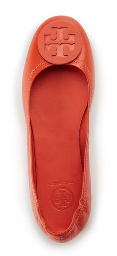 The Tory Burch Minnie Travel Ballet in Poppy Red