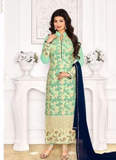 Buy Online Light Green Georgette Churidar Suit with Light Green Santoon salwar, Navy Blue Chiffon dupatta and having Zari, resham embroidery with stone work and Lace border, Border Lace work at Shopkund in Liverpool UK Designer Suits Online, Designer Salwar Suits, Designer Wear, Churidar Suits, Anarkali Suits, Patiala, Bollywood Dress, Bollywood Fashion, Bollywood Style