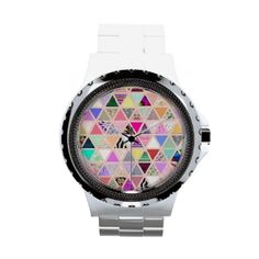 Vintage Abstract Floral Triangles Pastel Patchwork Watch by girly_trend