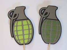 2 grenades on sticks, Wedding photo props, 2 booth props Army Birthday Parties, Army's Birthday, Wedding Photo Booth Props, Photo Booth Frame, Camo Cookies, Camouflage Room, Gods And Generals, Egypt Crafts, Army Decor
