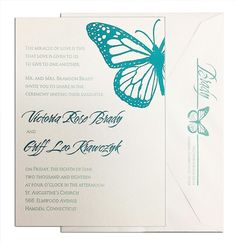 Butterfly Dance #Letterpress #Wedding #Invitation