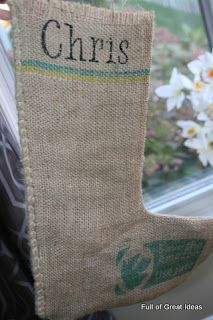 Full of Great Ideas: Burlap Stockings out of Free Coffee Sack