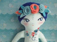 OOAK Tattooed Embroidered mermaid doll Liora by littledear on Etsy
