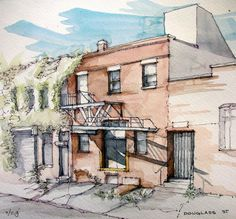 James Anzalone, Douglass Street 93 degrees. Industry retreats to the shadows. Ink and watercolor sketch