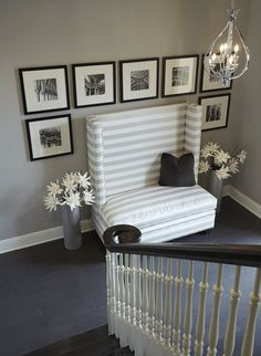 Portfolio | IBB Design Fine Furnishings. Love the high backed entry bench and gallery wall display