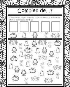 This page has a lot of free Halloween worksheets for kids,parents and preschool teachers. Theme Halloween, Halloween Math, Halloween Books, Halloween Activities, Math Activities, French Worksheets, Worksheets For Kids, Math Worksheets, Halloween Worksheets