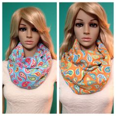 Paisley infinity scarves in multicolored bright blue and orange, Tutti Fruiti fabric, by Beckysscarfshop, $15.00 Paisley Scarves, Infinity, Bright, Orange, Trending Outfits, Fabric, Blue, Vintage, Etsy