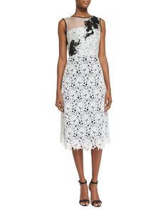 Shop Sleeveless Lace Cocktail Dress, White/Black from Oscar de la Renta at Neiman Marcus Last Call, where you'll save as much as on designer fashions. White Lace Cocktail Dress, White Sheath Dress, Black Silk Dress, White Sleeveless Dress, Draped Dress, White Dress, Cocktail Dresses, Dress Outfits, White Outfits