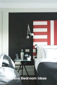 This unique boys bedroom black and white is truly a stunning design construct. Boys Bedroom Decor, Bedroom Black, Childrens Room Decor, Bedroom Stuff, Bedroom Ideas, Teen Room Designs, Kids Room Design, White Headboard, Headboard Ideas